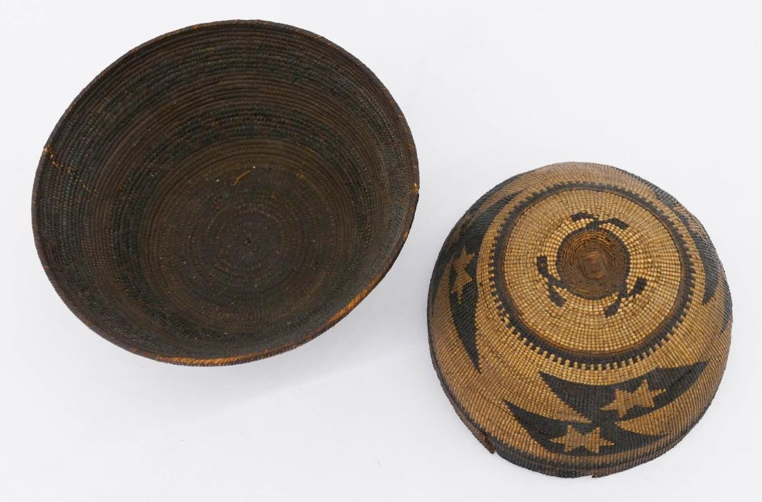 2pc Old California Indian Baskets. Includes a Hupa hat - 2