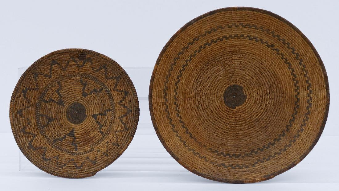 2pc Old Apache Indian Baskets. Includes a wide low bowl