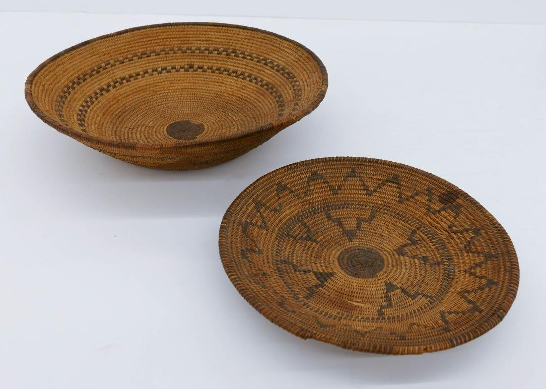 2pc Old Apache Indian Baskets. Includes a wide low bowl - 2