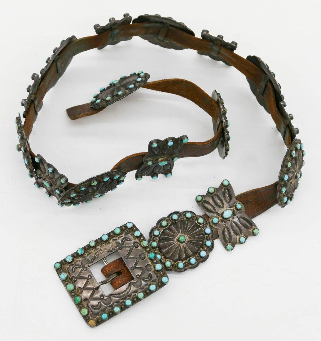 Old Zuni Petit Point Turquoise & Silver Concho Belt