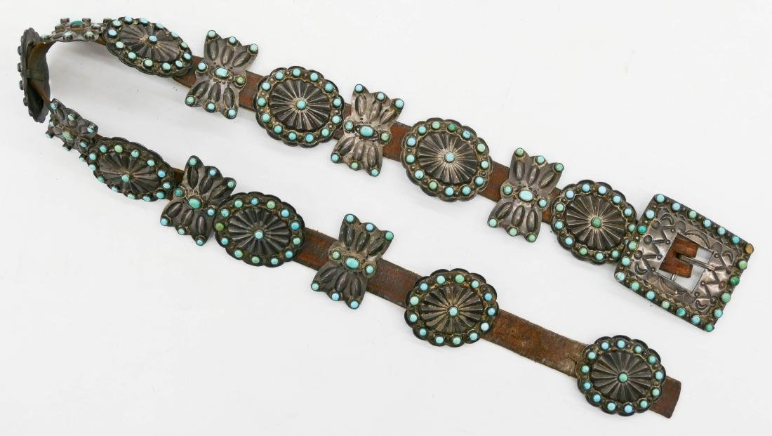 Old Zuni Petit Point Turquoise & Silver Concho Belt - 2