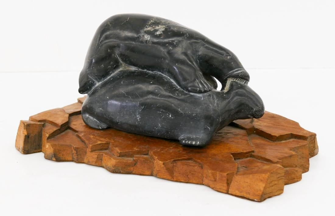 Inuit Polar Bear Seal Hunt Soapstone Sculpture on Base