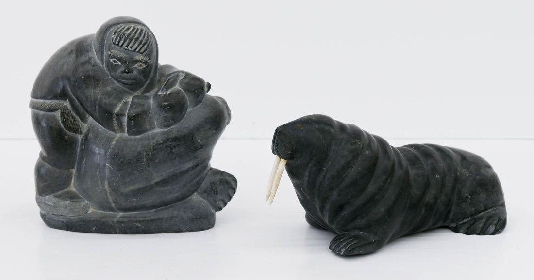 2pc Inuit Walrus Soapstone Sculptures. Includes an