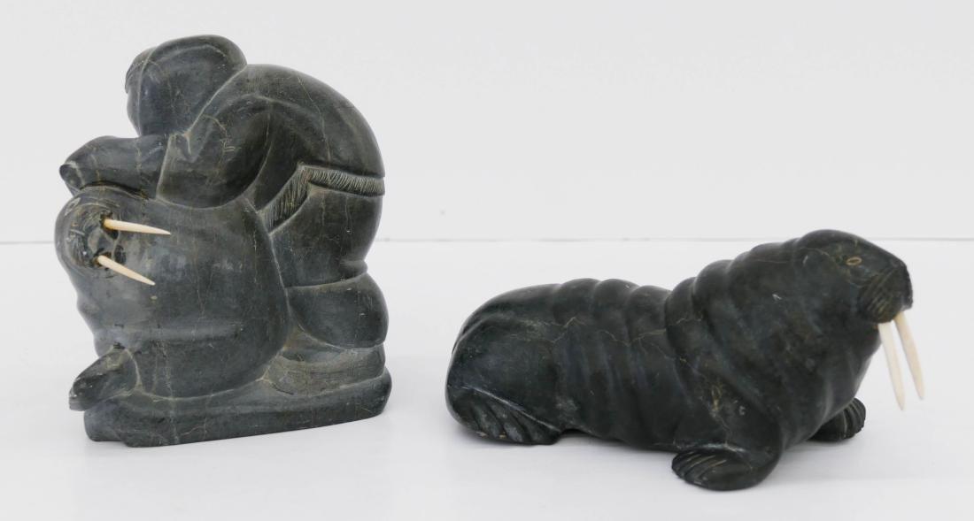 2pc Inuit Walrus Soapstone Sculptures. Includes an - 2
