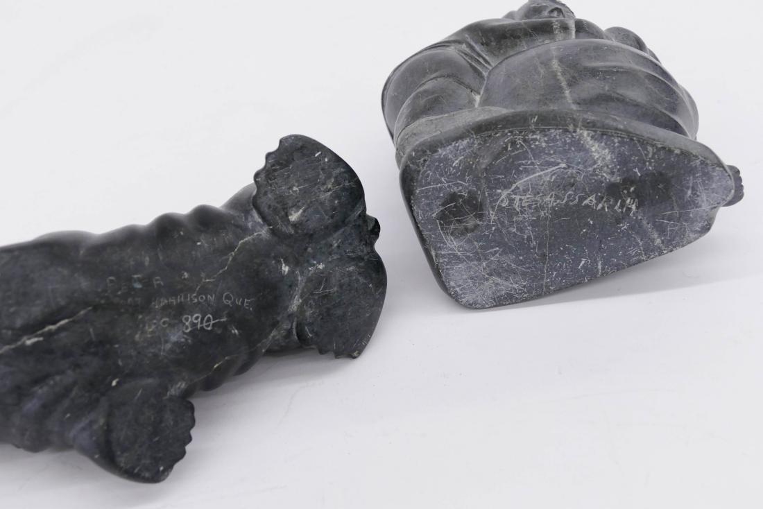 2pc Inuit Walrus Soapstone Sculptures. Includes an - 3