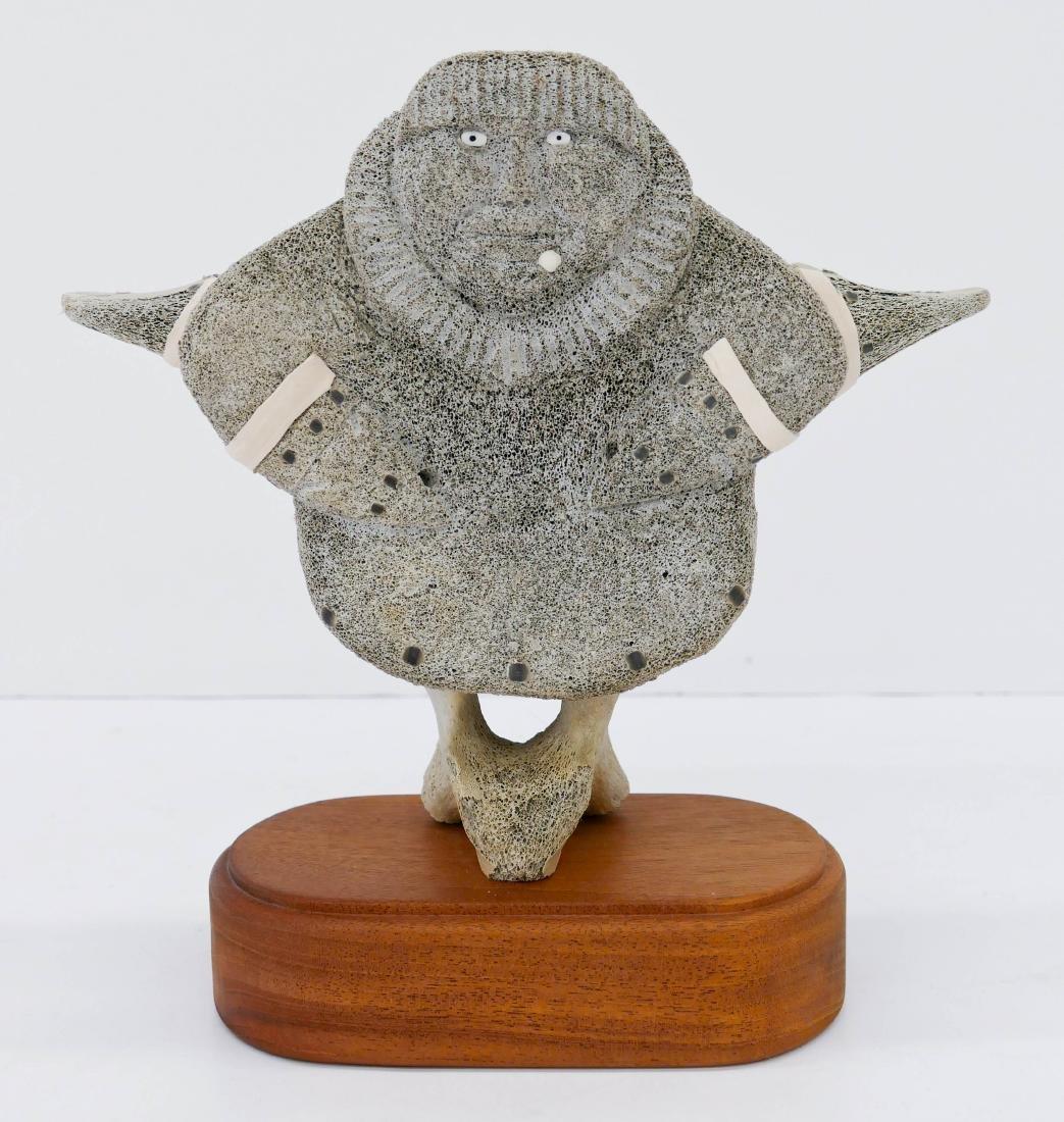Alaskan Eskimo Carved Whale Bone Vertebrae Sculpture