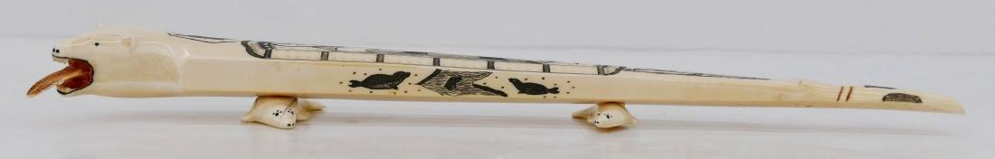 Alaskan Scrimshawed Polar Bear Cribbage Board 2''x18''. - 3