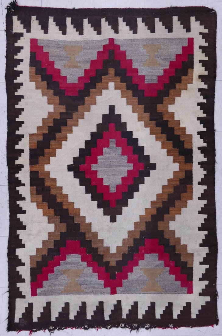 2pc Old Navajo Wool Rugs. Includes a red and ivory grou