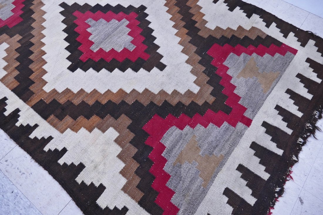 2pc Old Navajo Wool Rugs. Includes a red and ivory grou - 2