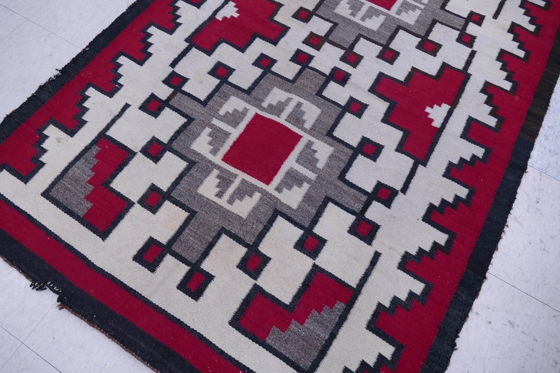 2pc Old Navajo Wool Rugs. Includes a red and ivory grou - 4