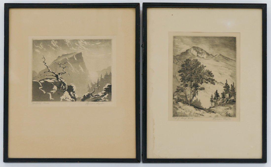"2pc Lyman Byxbe (1886-1980 American) ""Hallett's Peak"" a"