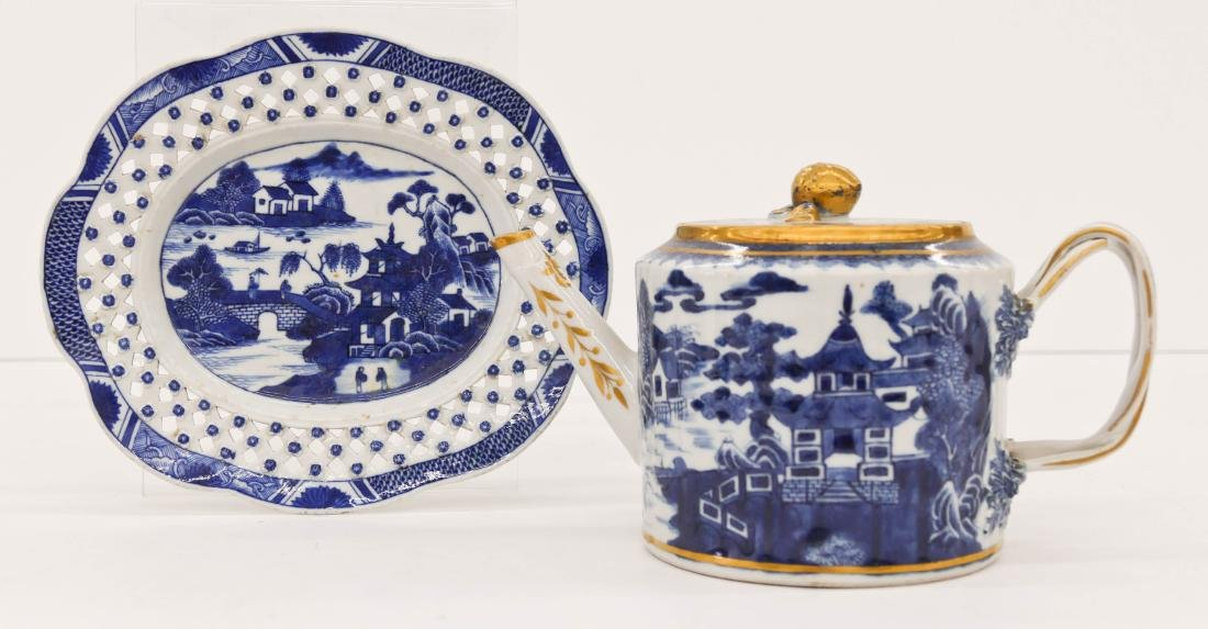 2pc Chinese Nanking Export Teapot & Tray. Includes an