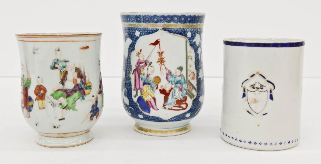 3pc Chinese Export Large Porcelain Tankards or Mugs.