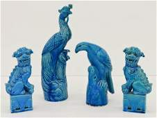 4pc Chinese Peacock Blue Animal Porcelain Figures.