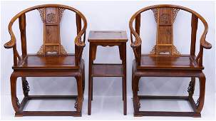 3pc Chinese Huanghuali Horseshoe Chair & Tea Table Set.