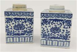 Pair Chinese Blue  White Porcelain Tea Jars