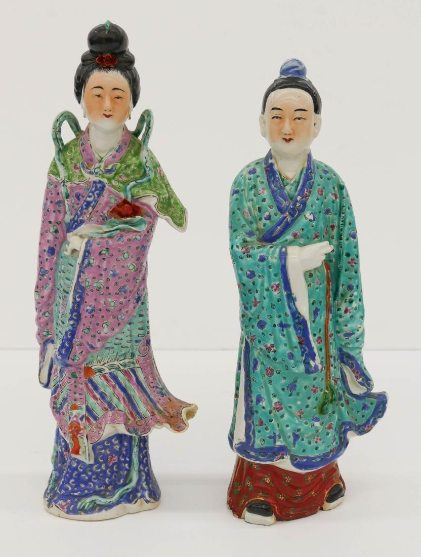 Pair Chinese Large Republic Porcelain Figures 14''x5''