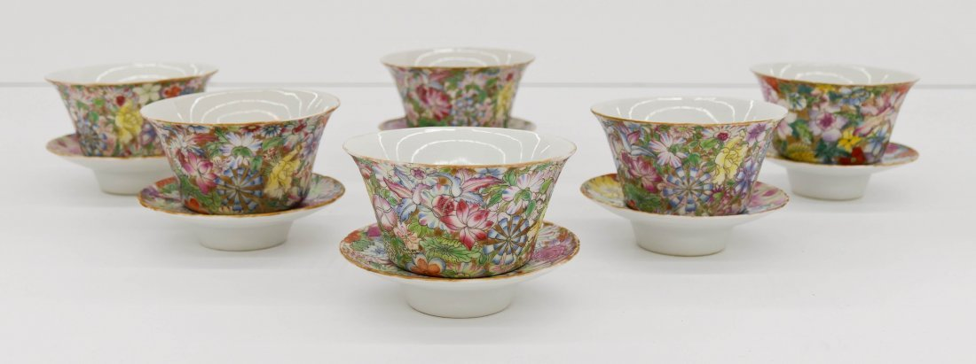 "Set 6 Chinese Millefleur Tea Bowl Sets 2.75""x4"" Each. P"