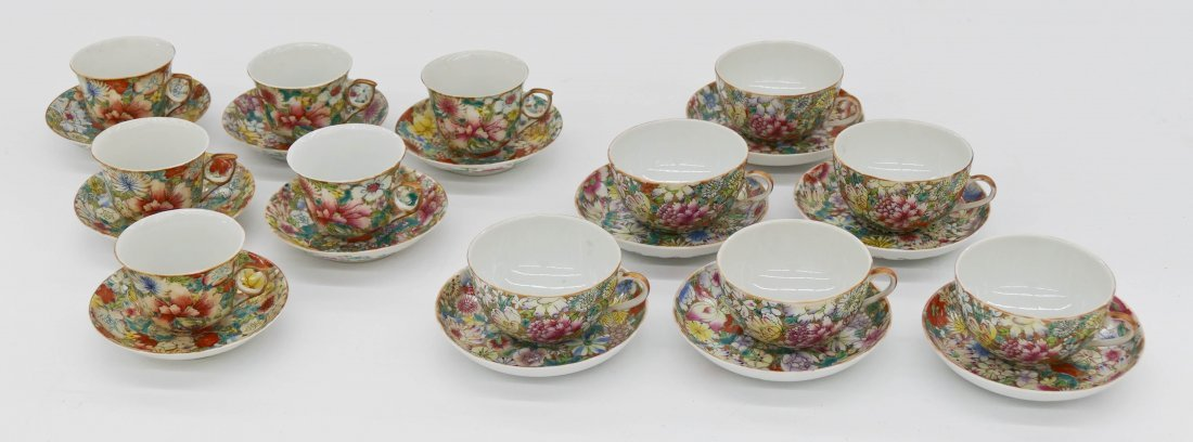12pc Chinese Guangxu Millefleur Cup & Saucers. Includes