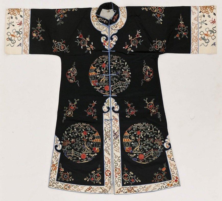 """Chinese Forbidden Stitch Silk Embroidered Robe 41""""x45""""."""