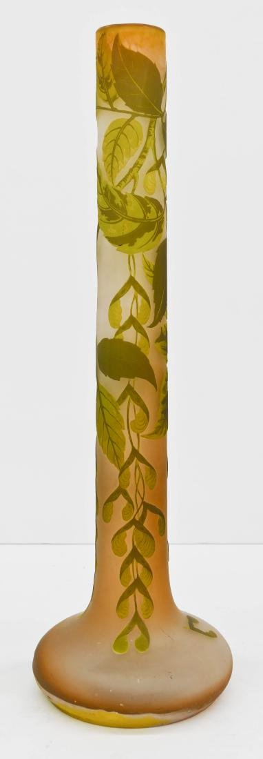 Large Galle Sycamore Cameo Glass Vase 23.25''x7.5''.