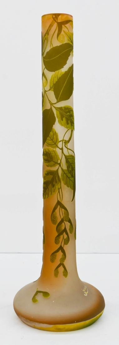 Large Galle Sycamore Cameo Glass Vase 23.25''x7.5''. - 3