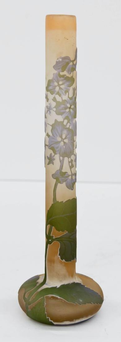 Galle Hydrangeas Cameo Glass Vase 11''x3.5''. Lavender