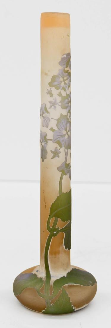 Galle Hydrangeas Cameo Glass Vase 11''x3.5''. Lavender - 3
