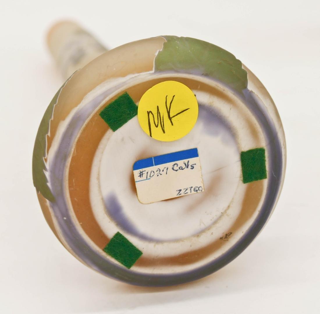 Galle Hydrangeas Cameo Glass Vase 11''x3.5''. Lavender - 4