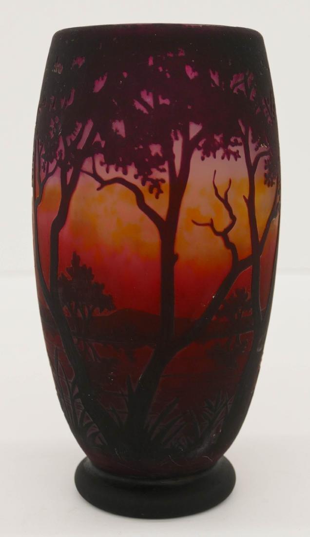 Daum Nancy Landscape Cameo Glass Vase 8''x4''. An acid