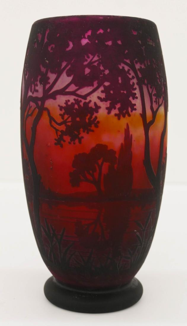 Daum Nancy Landscape Cameo Glass Vase 8''x4''. An acid - 2