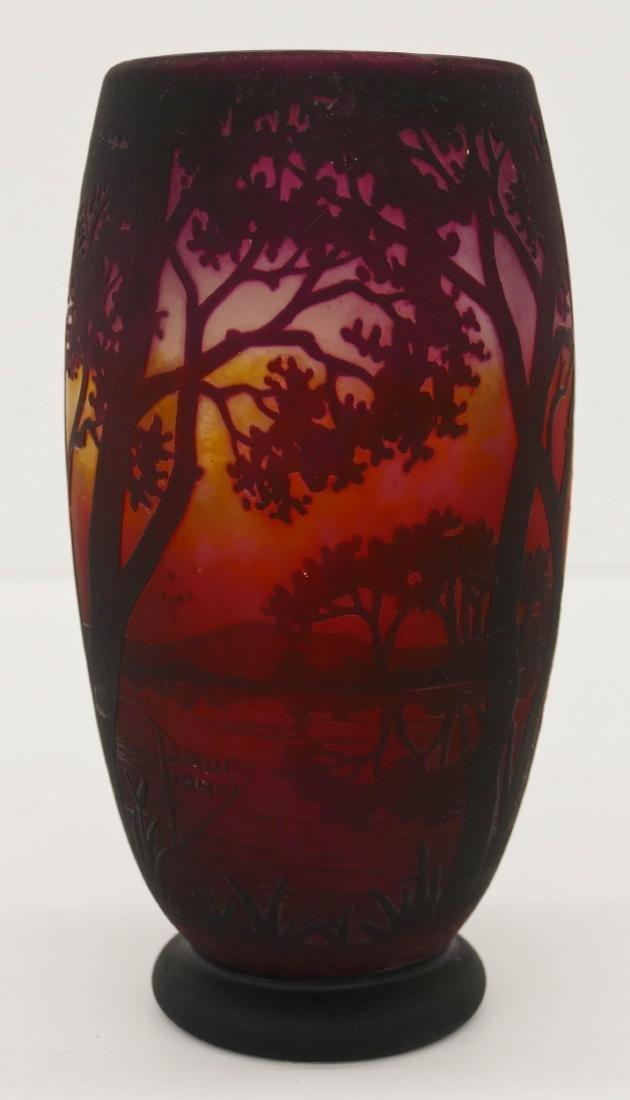 Daum Nancy Landscape Cameo Glass Vase 8''x4''. An acid - 3