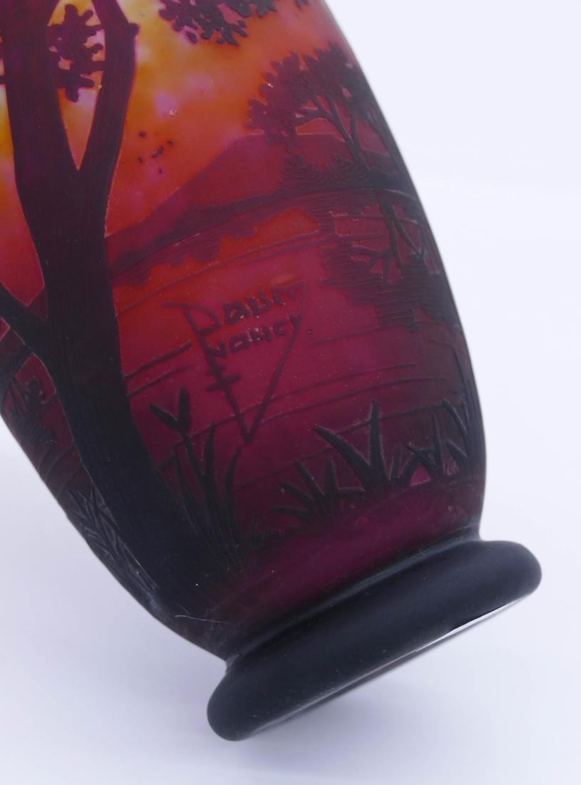 Daum Nancy Landscape Cameo Glass Vase 8''x4''. An acid - 4