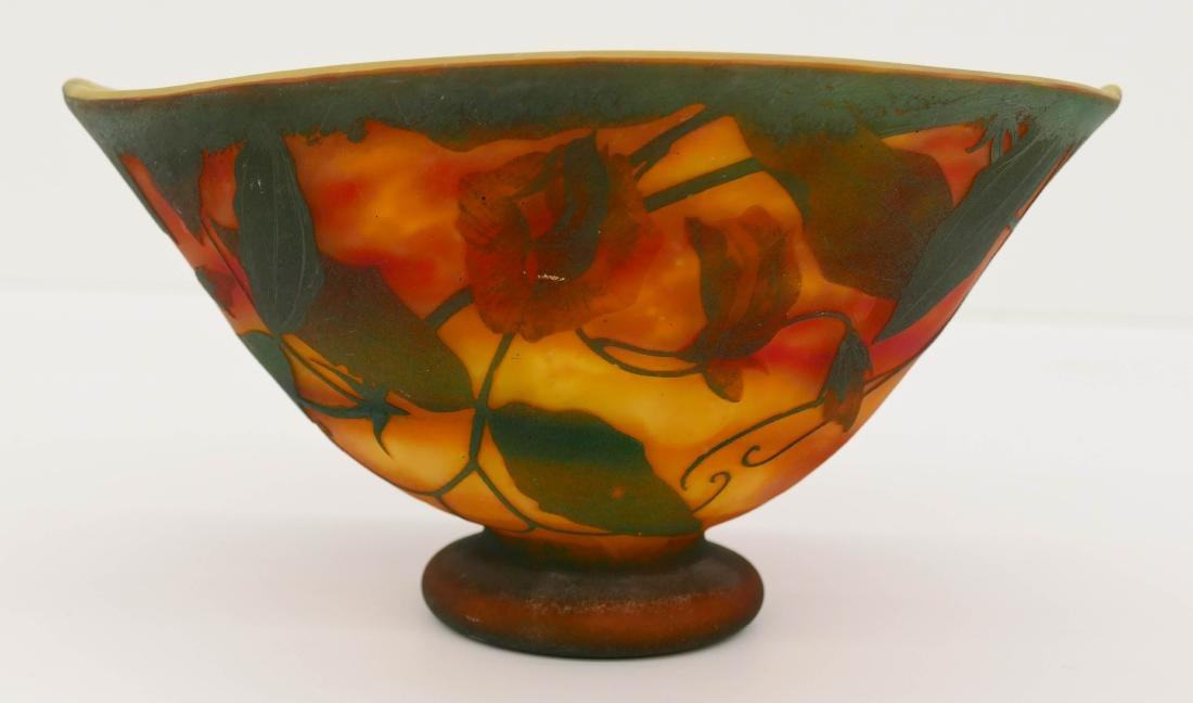 Daum Nancy Cameo Glass Bowl 5''x9.5''. An oval pinched
