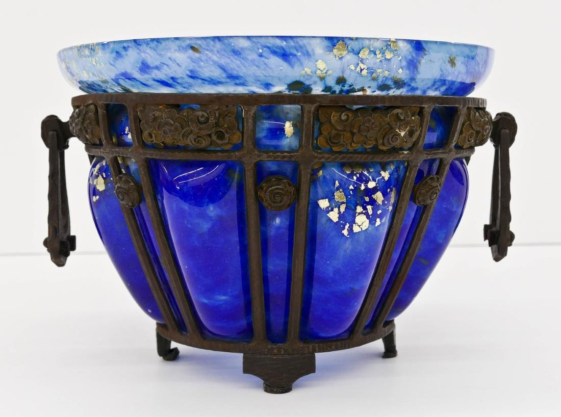Daum Nancy and Louis Majorelle Glass & Iron Center Bowl