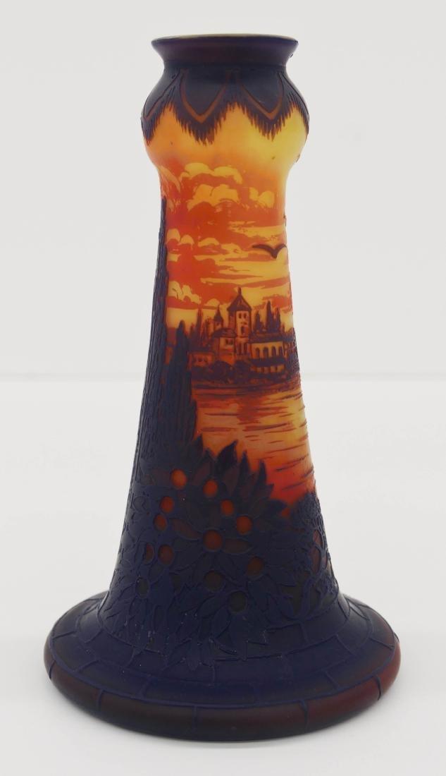 De Vez Cameo Glass Landscape Vase 7.5''x4.5''. Blue to