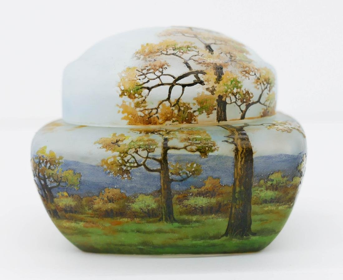 Daum Nancy Enameled Landscape Covered Glass Box
