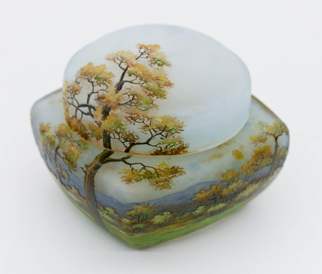 Daum Nancy Enameled Landscape Covered Glass Box - 2