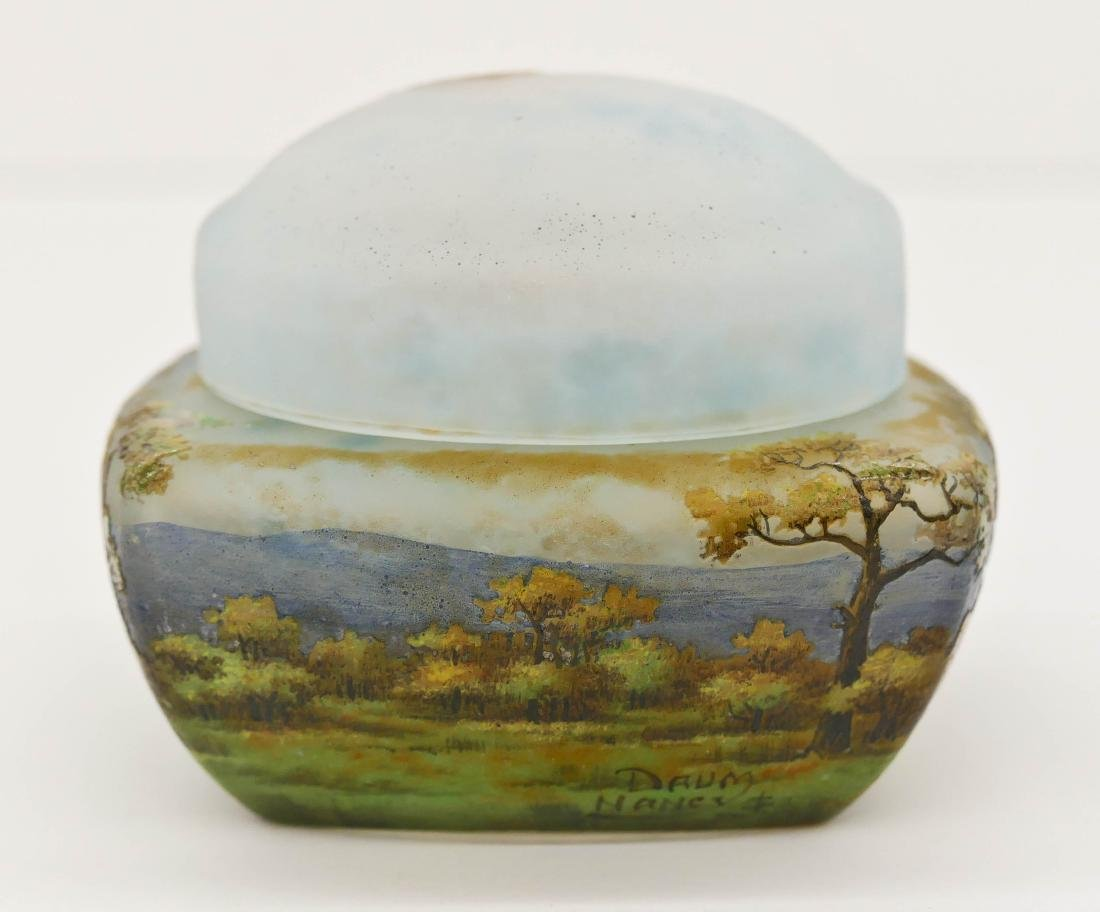 Daum Nancy Enameled Landscape Covered Glass Box - 3