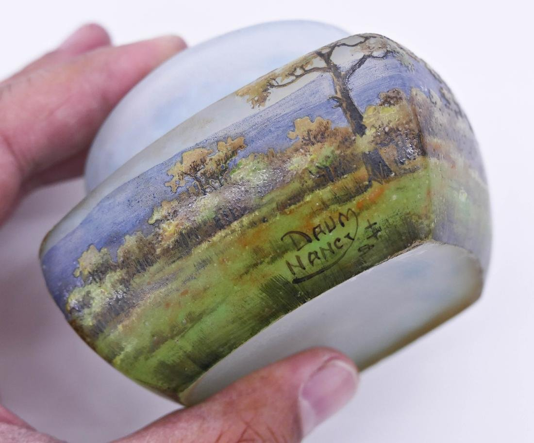 Daum Nancy Enameled Landscape Covered Glass Box - 4