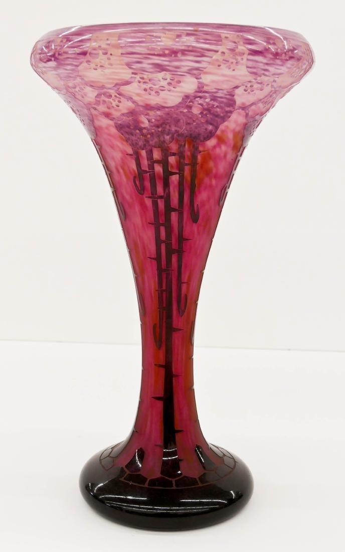 Large Charles Schneider ''Eglantines'' Cameo Glass Vase