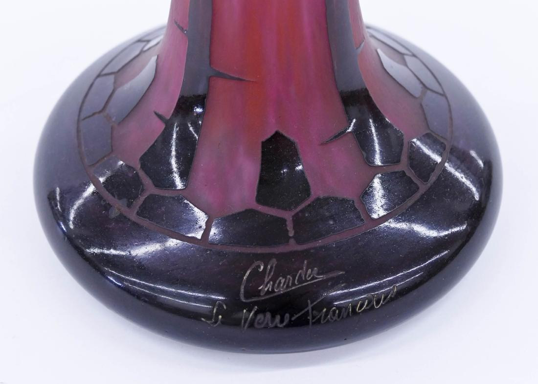 Large Charles Schneider ''Eglantines'' Cameo Glass Vase - 3