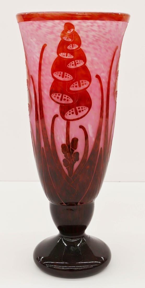 Large Charles Schneider ''Digitales'' Cameo Glass Vase