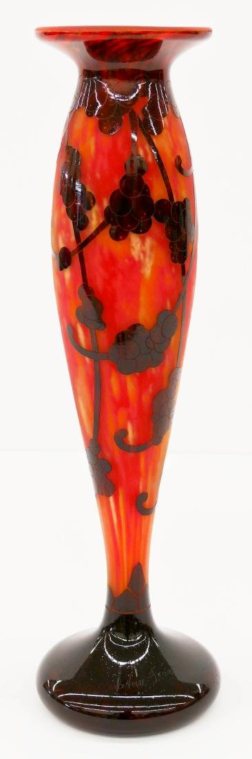 Tall Charles Schneider ''Perlieres'' Cameo Glass Vase