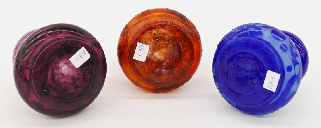 3pc Charles Schneider Cameo Glass Curio Vases - 2