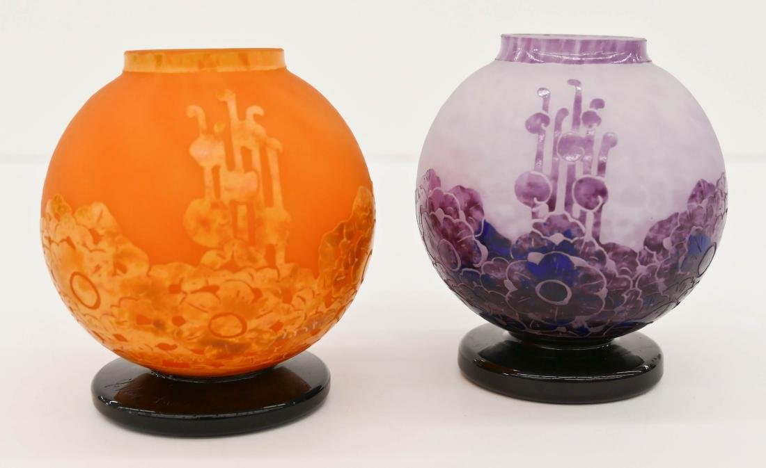 2pc Charles Schneider Ball Cameo Glass Curio Vases