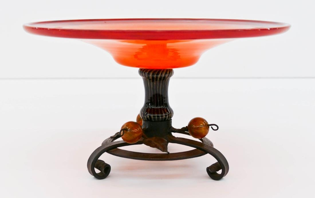 Schneider Glass & Iron Compote 6.75''x11.5''. Orange