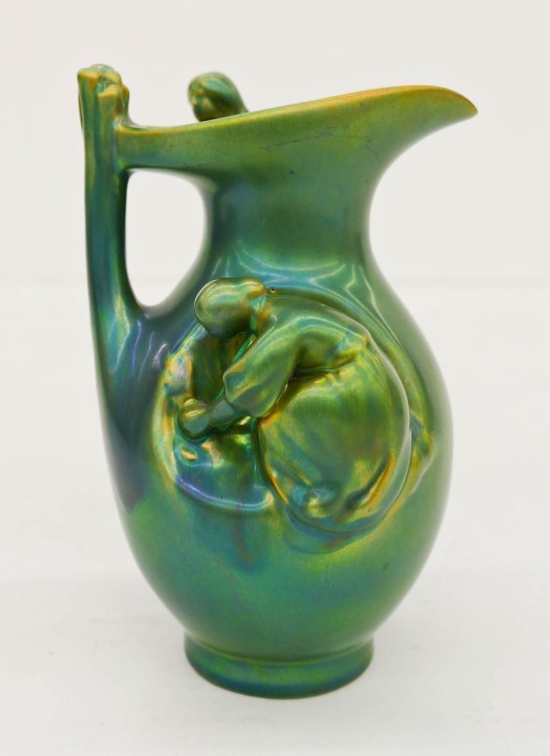 Zsolnay Eosin Glaze Figural Ceramic Ewer 6.5''x4''. A
