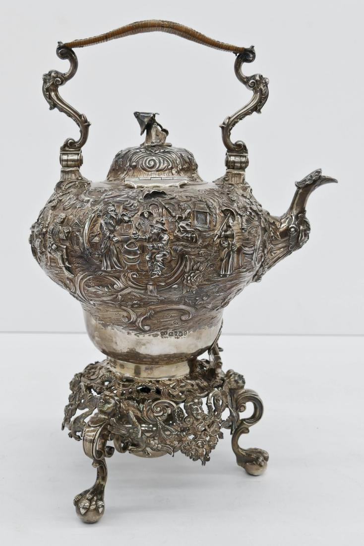 Impressive Edward Farrell Regency English Silver Kettle - 2