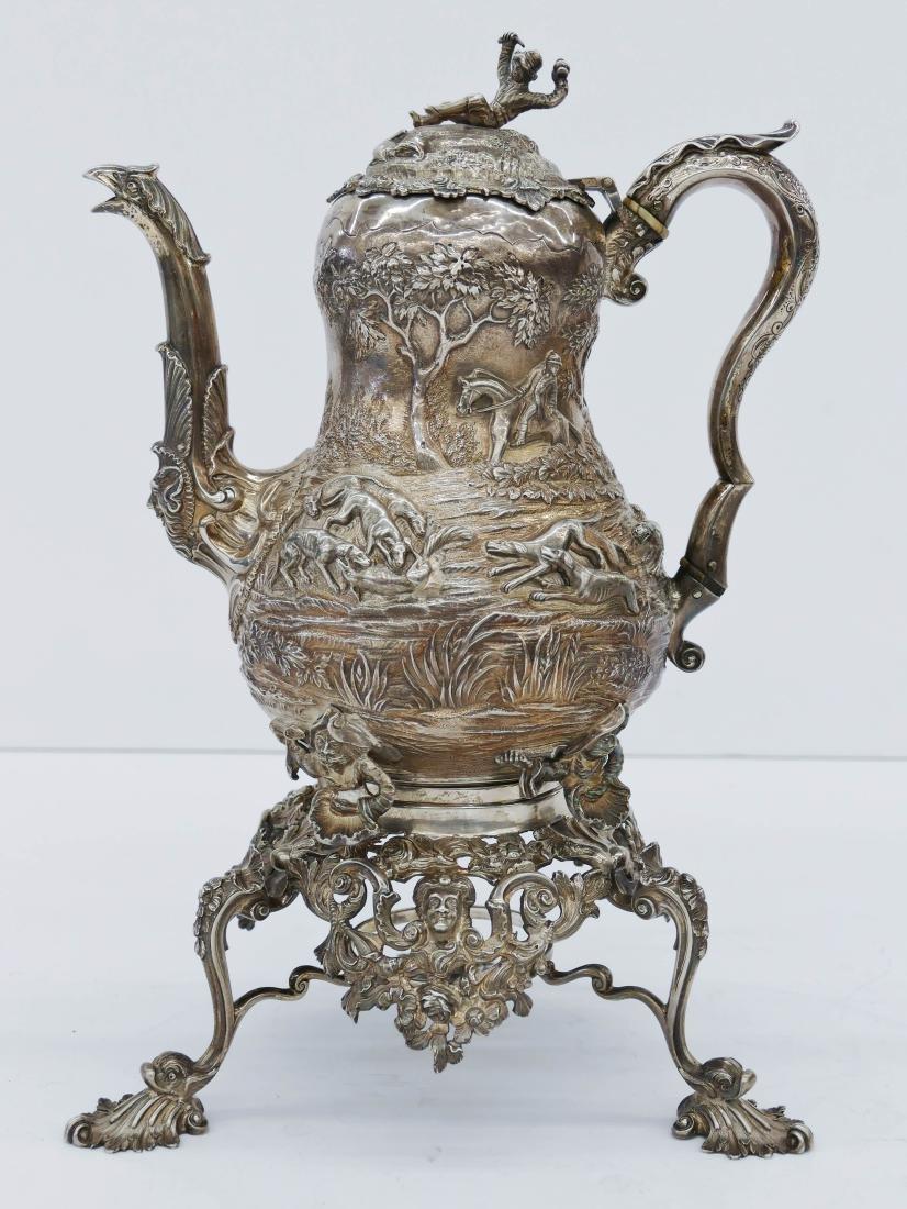 Edward Farrell Regency English Silver Teapot on Stand